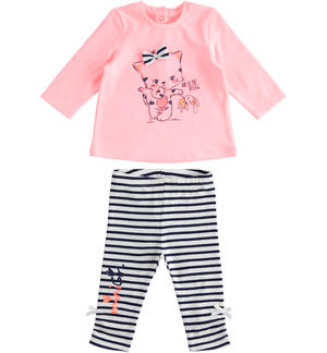Two-piece baby girl outfit with long-sleeved shirt and striped trousers ORANGE