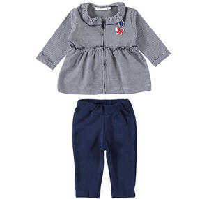 Two-piece outfit for baby girl with shirt with stripes BLUE