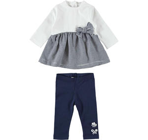 Two-piece outfit for baby girl in cotton with maxi bow BLUE