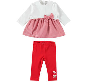Two-piece outfit for baby girl in cotton with maxi bow RED
