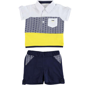 Two piece cotton outfit with polo shirt and pocket BLUE