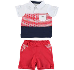 Two piece cotton outfit with polo shirt and pocket RED