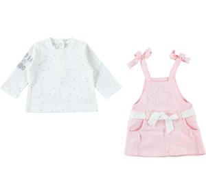 Two-piece cotton outfit baby girl with salopette PINK