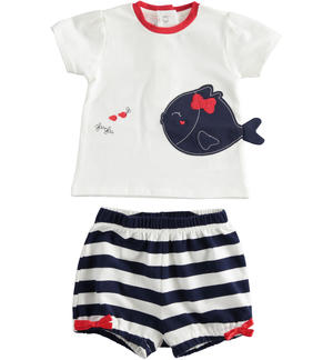Two-piece baby girl cotton set with shirt with puff sleeves BLUE