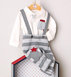 Two-piece stretch cotton set for baby with dungarees GREY