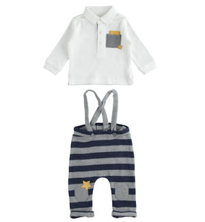 Two-piece stretch cotton set for baby with dungarees BLUE