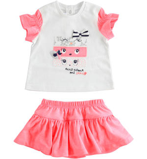 Two-piece cotton jersey set for baby girl with fluorescent pink skirt RED