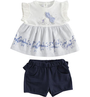 Two-piece cotton jersey set for baby girl with shorts with ruffles BLUE