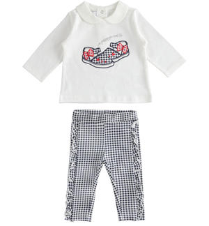 Two-piece stretch cotton jersey set for baby girl WHITE