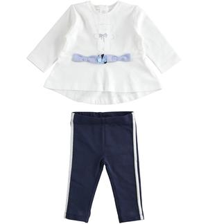 Two-piece stretch cotton jersey set for baby girl with flared fit t-shirt BLUE