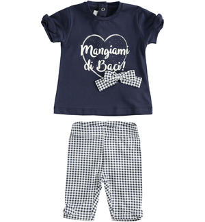 Two-piece stretch cotton jersey set for baby girl BLUE