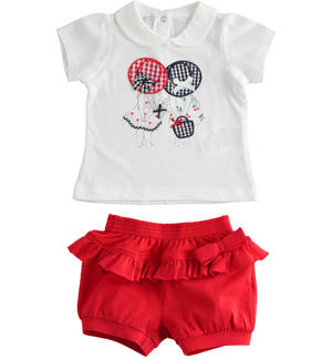 Two-piece stretch cotton jersey set for baby girl with short sleeves RED