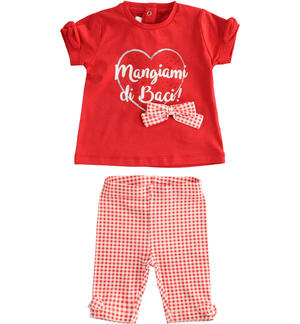 Two-piece stretch cotton jersey set for baby girl RED