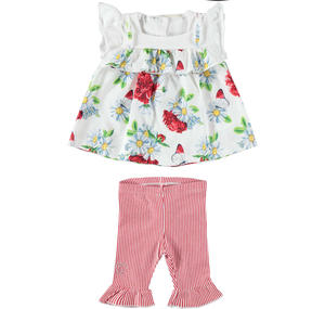 Two-piece outfit for baby girl in stretch cotton blend RED