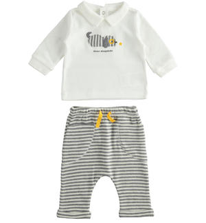 Two-piece outfit for newborn boy with striped trousers GREY