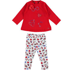 Stretch cotton outfit with rhinestone prints RED