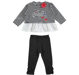Stretch cotton outfit with a striped long sleeved shirt BLACK