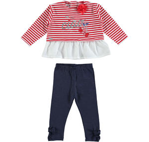 Stretch cotton outfit with a striped long sleeved shirt RED