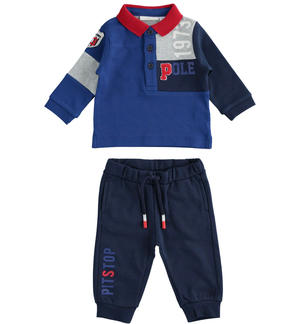 Baby stretch cotton set with color block polo shirt BLUE