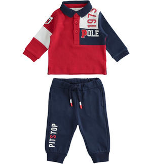 Baby stretch cotton set with color block polo shirt RED