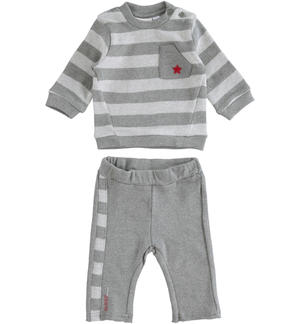 Two-piece stretch cotton set for baby with striped sweatshirt GREY