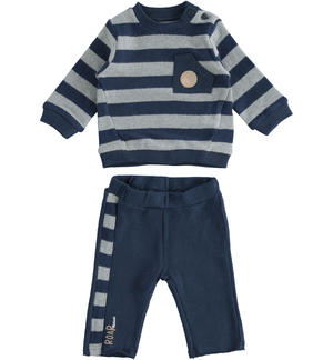 Two-piece stretch cotton set for baby with striped sweatshirt BLUE
