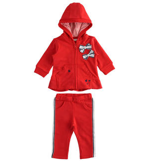 Cotton fleece set with flared sweatshirt RED