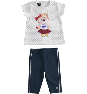 Completo in jersey maxi t-shirt e leggings pinocchietto BLU