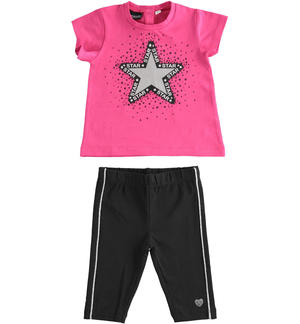 Completo in jersey maxi t-shirt e leggings pinocchietto NERO