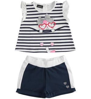 Completo in jersey stretch t-shirt con rouches e short BLU