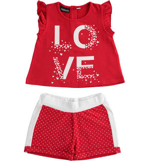 Completo in jersey stretch t-shirt con rouches e short ROSSO