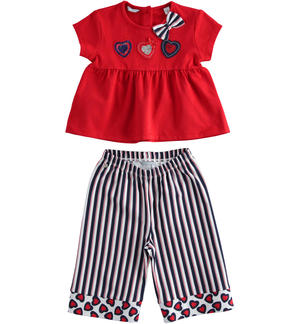 Completo in jersey stretch t-shirt e pantalone crop ROSSO