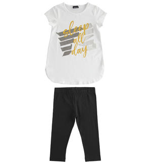 Completo in jersey stretch, t-shirt stondata e leggings BIANCO