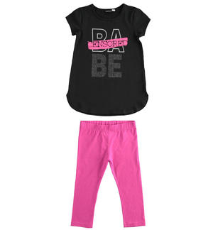 Completo in jersey stretch, t-shirt stondata e leggings NERO