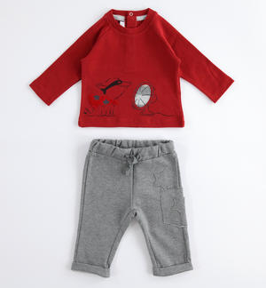Baby jogging suit with warm touch cotton sweater GREY