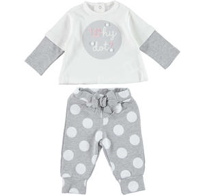 Double-sleeve t-shirt with polka dot trousers outfit  GREY