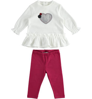 Outfit with t-shirt with sequin heart and leggings RED