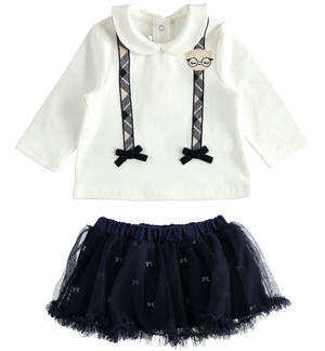 Outfit with t-shirt with faux suspenders and tulle skirt
