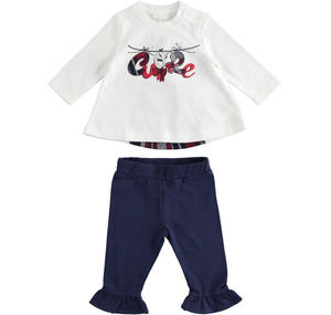 Set composed of T-shirt with a checked wedge and flounced trousers CREAM