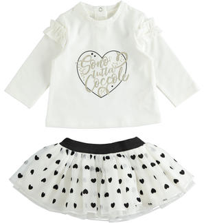 Set made of shirt and organza skirt with hearts CREAM