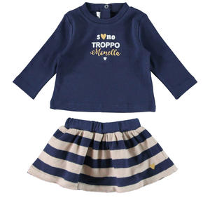 T-shirt and striped tricot effect skirt BLUE