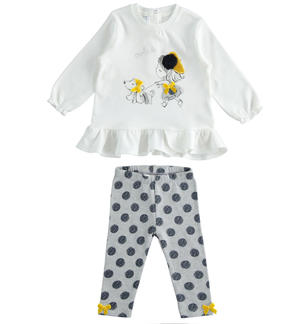 Set made of maxi shirt with flounce and polka dots leggings GREY