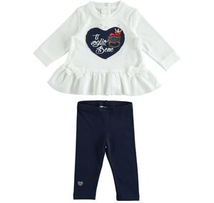Set made of maxi shirt with heart and leggings BLUE