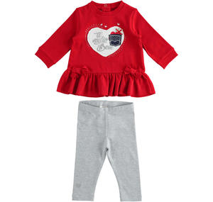 Set made of maxi shirt with heart and leggings RED