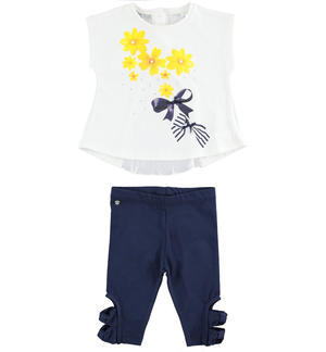 Outfit wih maxi sweater with flowers and leggings BLUE