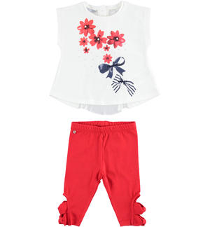 Outfit wih maxi sweater with flowers and leggings RED