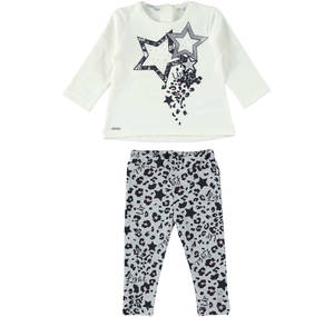 A maxi shirt with stars and animal print leggings' ensemble