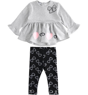 Maxi sweater and leggings with hearts set GREY