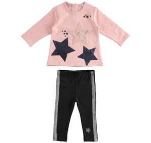 Maxi sweater and leggings set with faux fur star PINK