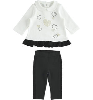 Maxi shirt and leggings set with tulle applications BLACK